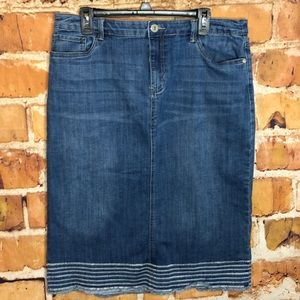 2/$20 Christopher & Banks midi jean skirt size 16